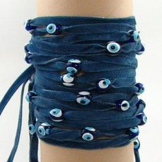 BUY - $19.99 - 4 pcs Denim Blue Velvet Evil Eye Wrap Bracelet: Love & Lucky (Source : http://www.amazon.com/Denim-Blue-Velvet-Evil-Bracelet/dp/B0049AO1H0/ref=sr_1_212?s=jewelry=UTF8=1369857360=1-212=denim) #Jewelry #denim