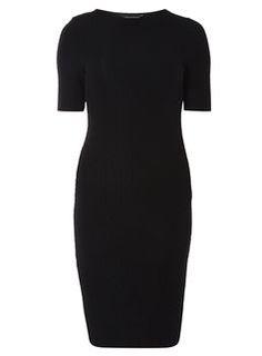 Robe moulante noire texturée à motif animalier