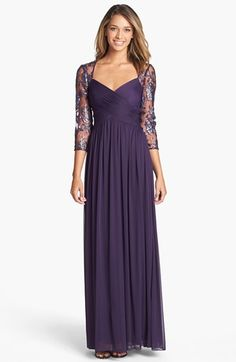 Adrianna Papell Embellished Lace Yoke Pleat Mesh Gown (Regular & Petite) available at #Nordstrom