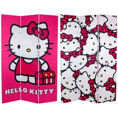 """71"""" x 47.25"""" Tall Double Sided Hello Kitty 3 Panel Room Divider"""