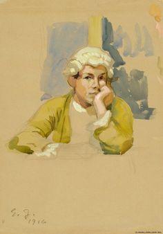 Rokokoopukuinen nuorukainen, harjoitelma maalaukseen Aurora-seura 1916