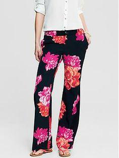 Bold Floral Wide-Leg Pant | Banana Republic