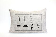 """music teacher gift, music teacher pillow, teacher appreciation, rest pillow, mother's day gift - """"The Rest"""""""