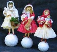 how to make spun cotton santas - Google Search