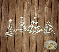 """Laser Cut Chipboard """"Collection Of """"Premium"""". Creative Christmas trees"""" by SiberianDIYcraftsArt on Etsy"""