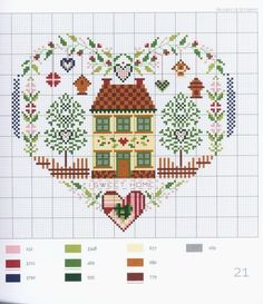Home Sweet Home heart free cross stitch pattern