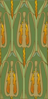 During the period when Art Nouveau styles were fashionable, deep wallpaper friezes were common. Art Nouveau styles brought olive and sage greens and mustard yellows for walls with stencilling and friezes in organic shapes and stylised birds and foliage. Fabric Wallpaper, Pattern Wallpaper, Wallpaper Art, Art Nouveau Wallpaper, Art Nouveau Pattern, Designer Wallpaper, Wallpaper Designs, Famous Art, Arts And Crafts Movement