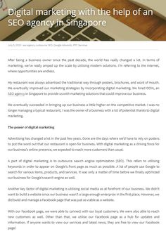 Digital marketing with the help of an SEO agency in Singapore Seo Agency, Word Of Mouth, Word Out, Search Engine Optimization, Business Tips, Singapore, The Help, Digital Marketing, Investing
