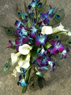 Peacock feathers and Calla lilies