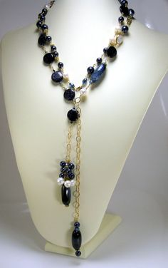 Sapphire Blue Agate Necklace, Fresh Water Pearls, Navy Gold Stones, Swarovski Pearls, Gold filled OOAK Opera Length by WildGingerSpiro Bow Necklace, White Necklace, Necklace Lengths, Beaded Necklace, Blue Pearl, Blue Gold, Fine Jewelry, Unique Jewelry, Jewelry Making