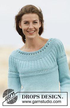 Jumper Patterns, Sweater Knitting Patterns, Lace Patterns, Crochet Patterns, Ravelry Free Knitting Patterns, Free Pattern, Pattern Design, Drops Design, Summer Knitting