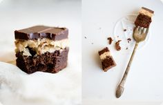 This Peanut Butter Truffle Brownies recipe features a decadent brownie, sweet and creamy peanut butter and a deep chocolate ganache layer. With love, from Some Kitchen Stories.