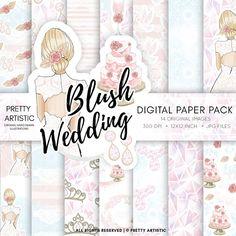 Blush Wedding Digital Paper Pack, Wedding Clipart Paper Pack, Bride Paper Pack, Watercolor Wedding Clipart, Wedding Cake, Blush Pink Floral