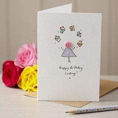 Personalised Handmade Button Juggler Card