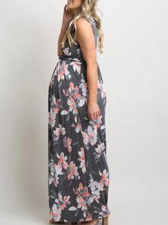 c96b0844a29db Maternity Dresses - Dellytop Womens Maternity Dress Summer Floral  Sleeveless Twist Knot Maxi Dresses **