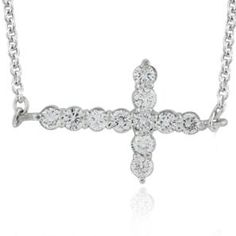 #Malakan #Jewelry - Platinum-Silver Diamond Cross Pendant 77802C #Cross #Crosses #Religion