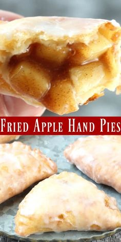Fried apple hand pies are a delicious dessert for any occasion with the most decadent pastry filled with delicious apples and dipped in a powdered sugar glaze eastersweetsweek ad apples pie handpies Apple Desserts, Köstliche Desserts, Apple Recipes, Baking Recipes, Delicious Desserts, Dessert Recipes, Pastry Recipes, Plated Desserts, Yummy Recipes