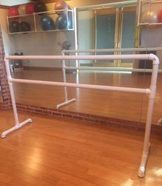 6 x 43 Portable Ballet Barre for Studio or at home Ballet Class, Ballet Barre, Pilates or Fitness Class This equipment is meant to be used as a ballet barre only. Hanging or climbing on the barre could result in injury or equipment damage. Assembly required. Glue for assembly not included.