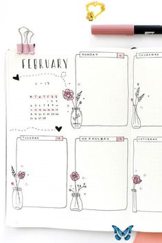 Bullet Journal Weekly Spread Ideas For February 2019 - Crazy Laura #bulletjournaldoodles I love how cute this weekly spread is! Those little flower doodles are super cute<br> Bullet Journal Inspo, February Bullet Journal, Self Care Bullet Journal, Bullet Journal Headers, Bullet Journal School, Bullet Journal Aesthetic, Bullet Journal Notebook, Bullet Journal Ideas Pages, Bullet Journal Layout