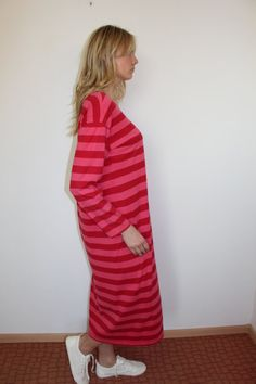 MARIMEKKO Dress Maxi Roundneck Dress Night gown Nautical Red Striped Sailor Dress Marine Long Sleeves Cotton Medium to Large Size Measurements Marimekko Dress, Dress Night, Sailor Dress, Red Stripes, Good Old, Nautical, High Neck Dress, Gowns, Medium