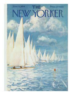 The New Yorker Cover - June 1959 Regular Giclee Print by Arthur Getz The New Yorker, New Yorker Covers, Journal Vintage, Magazine Art, Magazine Covers, Magazine Illustration, Winter Scenery, Vintage Magazines, Thing 1