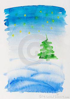 Watercolor Christmas Card Stock Photography - Image: 27392272