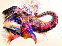 Emily Tan's vibrant creature portraits perfectly encapsulate the beauty of the animal kingdom. The colorful animal paintings or sketch-like drawings pop on Colorful Animal Paintings, Colorful Animals, Elephant Shower, Elephant Walk, Photoshop, Indian Elephant, Watercolor Animals, Les Oeuvres, Sculpture Art