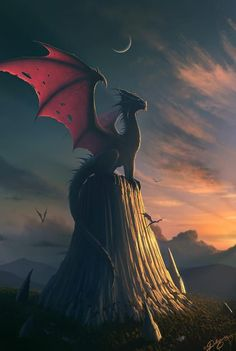 Dragon Sitting On Hill Posing!!! Could Use Cooler Dragon I've Found But Similar Background And It Would Be Cool Tattoo!! Nick Deligaris