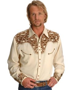 5933f9561ed82 Scully Men s Embroidered Gunfighter Shirt - P-634-NAT  fashion  clothing