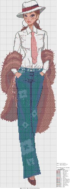 Well dressed girl pattern / chart for cross stitch, crochet, knitting, knotting, beading, weaving, pixel art, and other crafting projects