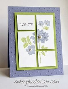 This blue and green handmade thank you card demonstrates a great and easy technique - cutting apart a design.  It adds dimension to the card and makes it look more complicated than it really is.