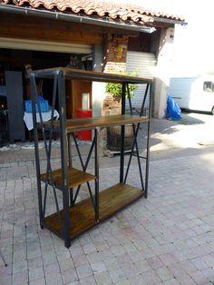 étagére penderie style industriel fabrication sur mesure bois mètal