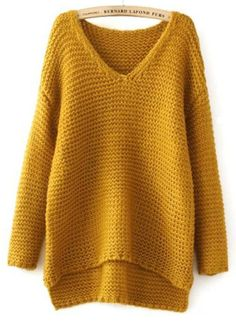 Shop Yellow V Neck Dipped Hem Chunky Sweater online. Sheinside offers Yellow V Neck Dipped Hem Chunky Sweater & more to fit your fashionable needs. Loose Knit Sweaters, Winter Sweaters, Sweater Weather, Chunky Sweaters, Sweaters Knitted, Crochet Clothes, Knitwear, Knitting Patterns, Knit Crochet