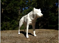Low poly 3D print of a Spirit Bear titled 'Fear of the Unknown'. From our series of work called 'The Unexpected' which was created to raise awareness of the Raincoast Conservation foundation, their initiative 'Art For An Oil Free Coast' and the dangers facing our beautiful BC, Canada. coastline.    14cm laser-sintered nylon 3D printed statue    Available to buy from our online Shapeways store for $41.70     Read more about Art For An Oil Free Coast, here…