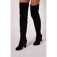 Keyra Black Faux Suede Over The Knee Boot-3 (1,155 MXN) ❤ liked on Polyvore featuring shoes, boots, black, block heel boots, black thigh high boots, thigh boots, black thigh-high boots and black zipper boots