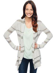 Love this---Splendid Official Store, Lafayette Stripe Cardigan, wheat, Womens : Sweaters, SE5625