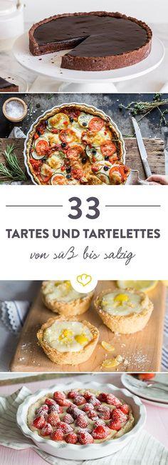 Süß, herzhaft, fruchtig, käsig, cremig, knusprig - all das können Tartes und Tartelettes sein. Wir zeigen dir 33 unwiderstehliche Rezepte.