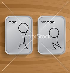Toilet signs on wooden vector 3625681 - by GooPiag on VectorStock® Directional Signage, Wayfinding Signage, Signage Design, Toilet Symbol, Kindergarten Logo, Washroom Sign, Toilet Signage, Funny Toilet Signs, Wc Sign