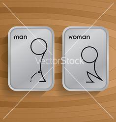 Toilet signs on wooden vector 3625681 - by GooPiag on VectorStock®
