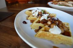 The semolina waffle from brunch at Dolce Italian in Chicago.
