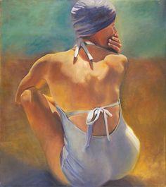 .:. Elizabeth  Gorek - Elizabeth Gorek Having Swum a colorful figurative oil painting at Seager Gray Gallery in Mill Valley California San Francisco Bay Area