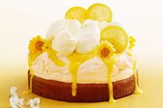 With a luscious layers of lemon cake, lemon curd, baked meringue and fresh cream, this is one decadent dessert. Lemon Curd Pavlova, Baked Meringue, Meringue Food, Pavlova Cake, Blackberry Cake, Fresh Cream, Ice Cream, Baking Recipes, Dessert Recipes