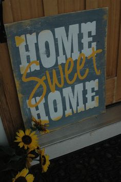 LARGE Home Sweet Home Painted RUSTIC sign by AllMyGoodness on Etsy, $65.00