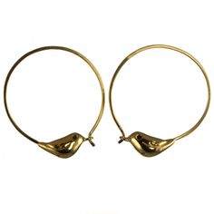 Sparrow hoop earrings in fine gold vermeil with black diamond eyes, as seen in Stella. http://www.janareinhardt.com/collections/little-sparrow/products/golden-sparrow-hoop-earrings