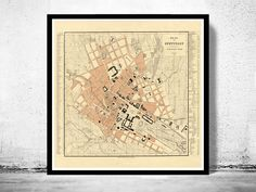 Old Map of Stuttgart, Germany 1860 Vintage map - product image