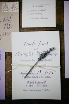 lavender invitations #lavenderwedding #purplewedding #weddingchicks http://www.weddingchicks.com/2014/01/01/lavender-wedding-2/