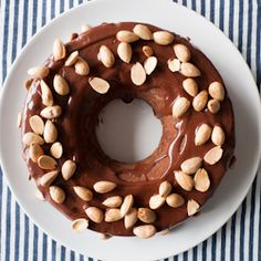 Chocolaty Chocolate Cake topped with Roasted Almonds