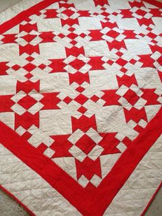 Graphic red and white antique quilt on Etsy, £160.00