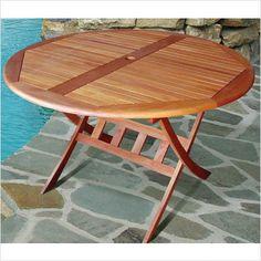 Vifah Dylan Round Folding Table | ModernOutdoorFurniture.com