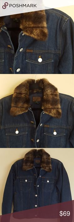 ✨Host Pick✨ Denim jacket with faux fur collar Dark denim jacket with detachable faux fur collar. Thick quilted lining interior, very warm! This jacket looks brand new, in excellent condition! Ralph Lauren Jackets & Coats Jean Jackets